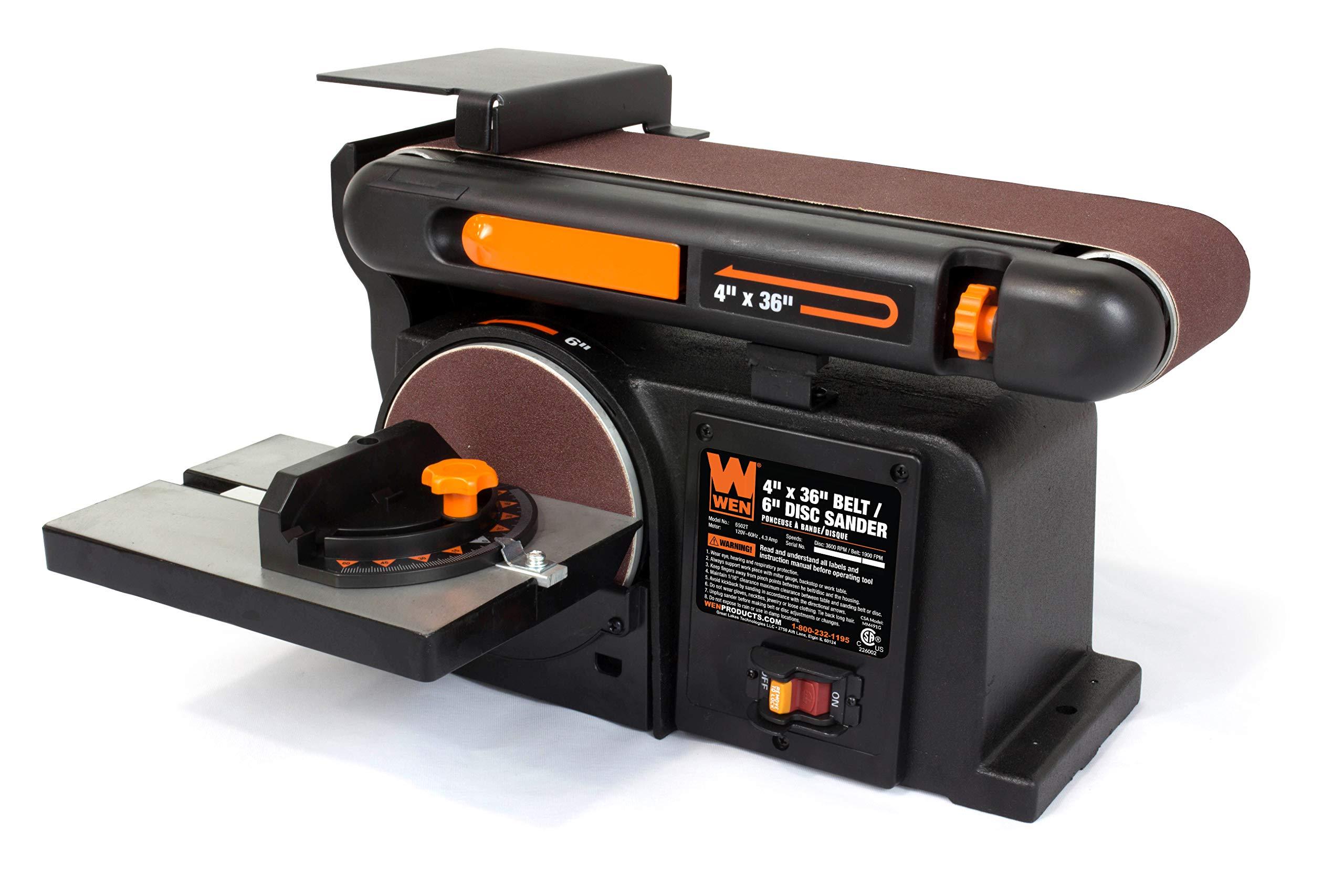 Top Bench Belt Sander Tool-less 4.3 Amp 120V Miter Gauge Workshop Wood Cast Iron