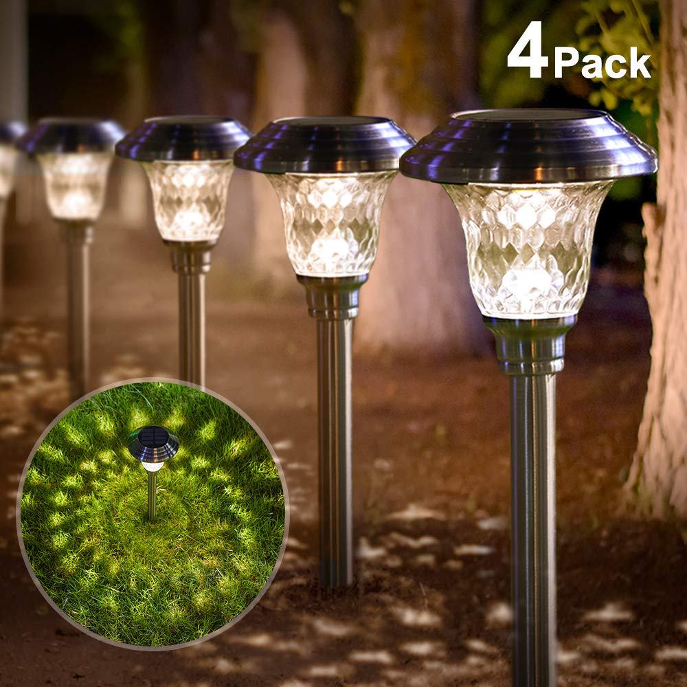 Solar Lights Outdoor Motion Sensor Lights Pack of 4, Cool White ASAKA 100 LED Wireless Waterproof Security Light with Wide Angle for Garden Garage Yard